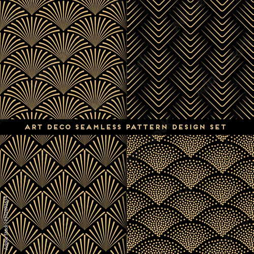 Art deco style seamless pattern design set - golden line repeat patterns on black background