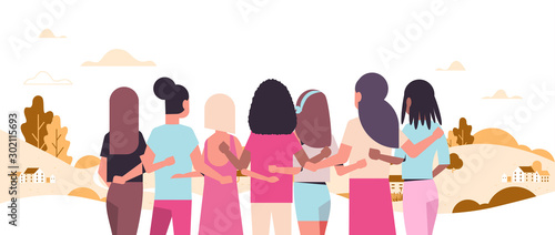 Photo women standing and embracing together mix race girls struggling against breast c