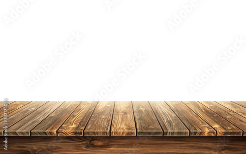 Wall mural Wooden table top with aged surface, realistic vector illustration. Vintage dining table made of darkened wood, realistic plank texture. Empty desk top isolated on white wall.
