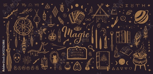 Fototapeta Witchcraft, magic background for witches and wizards