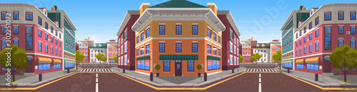 Wall mural City street realistic 3d style vector. Road with zebra crossing for pedestrians. Buildings made of brick or stone and estates for citizens. Architecture of modern town with apartments infrastructure