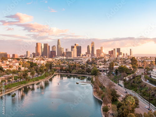 Wallpaper Mural Aerial view of downtown Los Angeles California city skyline and skyscraper buildings during golden hour before sunset
