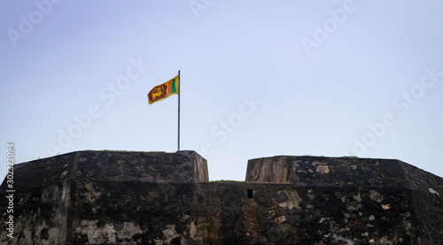 Canvastavla The best city of south of Sri Lanka, The Old Clock Tower and the Sri Lanak flag