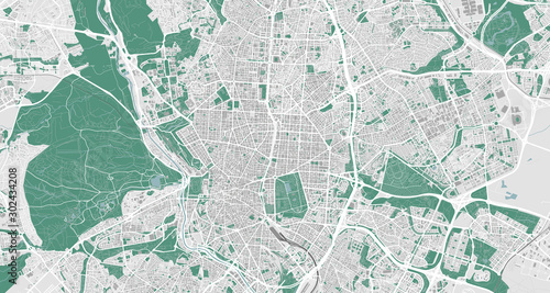 Photo Detailed map of Madrid, Spain