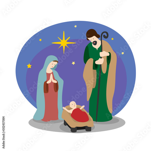 Fotografie, Obraz Nightly christmas scenery mary and joseph in a manger with baby Jesus and star l
