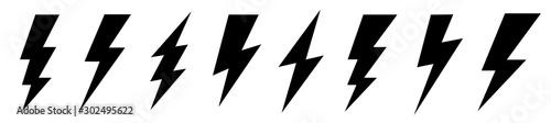 Photo Set lightning bolt. Thunderbolt flat style - stock vector.