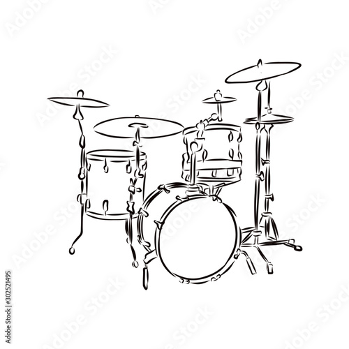 Fotografia drum and drumsticks isolated on white background