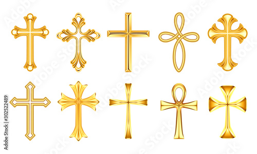 Billede på lærred Set of isolated christian cross or religion sign