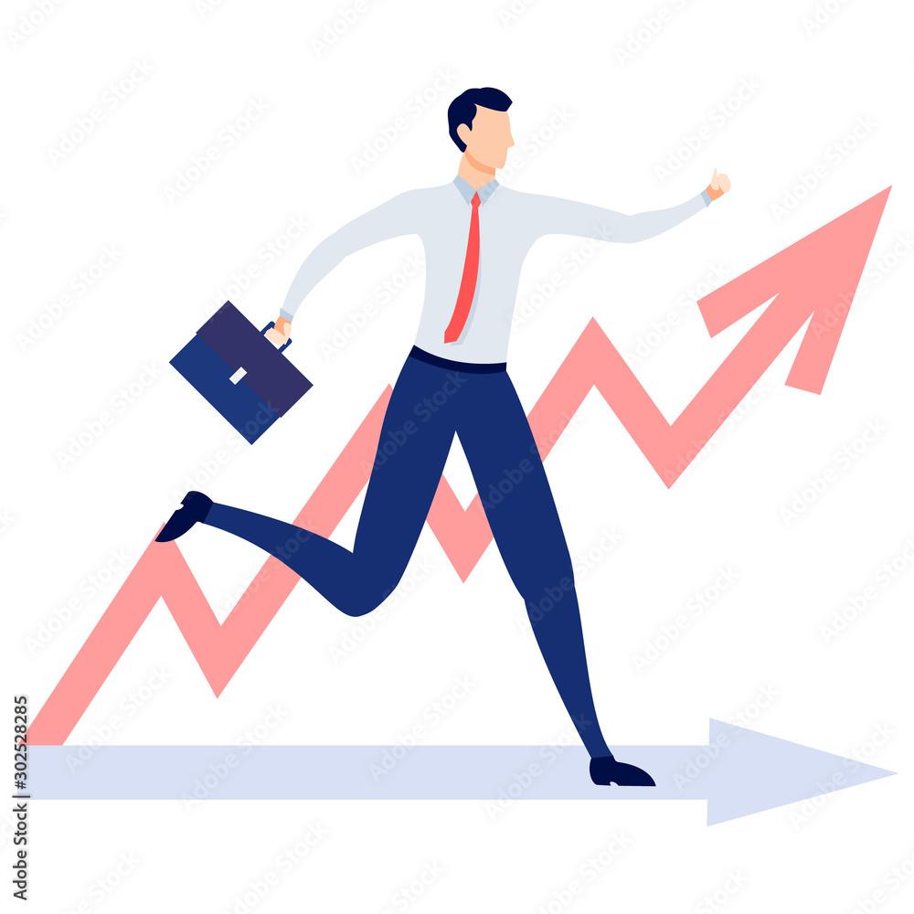Businessman running to the goal. Business concept vector illustration. <span>plik: #302528285   autor: Віталій Баріда</span>