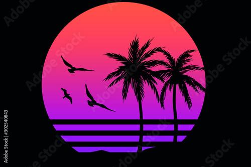 Wallpaper Mural Paradise Palms Hawaii Silhouette Sea