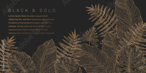 Fotografie, Obraz Black and Gold Leaves Background Pattern