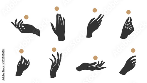 Fotografia, Obraz Hand linear style icon, Hands and fingers vector design in various poses for create logo and line arts design Template