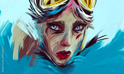 A fantasy woman portrait. Original artwork, oil on canvas.