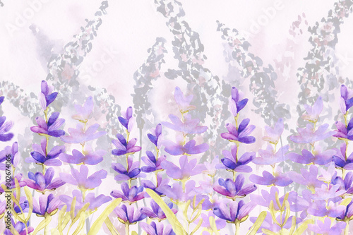 Carta da parati Seamless pattern border with sprigs of lavender flowers in the field on the meadow