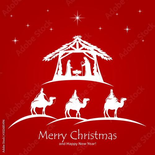 Obraz na plátně Christian Christmas on Red Background