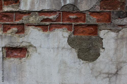 Folia na okno łazienkowe Stary uszkodzony mur z gipsu