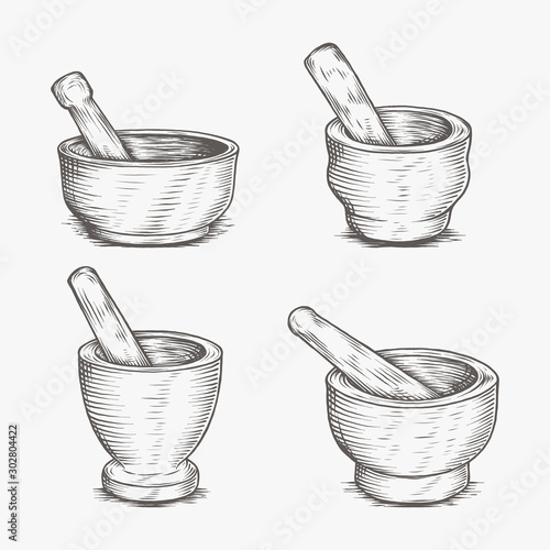 Obraz na płótnie Mortar And Pestle Medical Pharmacy Hand Drawing Engraved