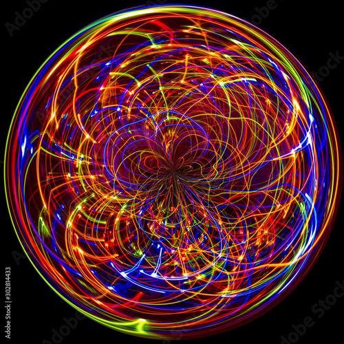 Photo Digital Art: holiday lights manipulated into an orb