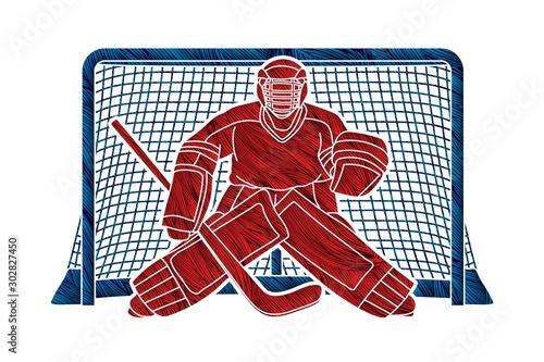 Cuadros en Lienzo Ice Hockey Goalie, sport player cartoon action graphic vector.