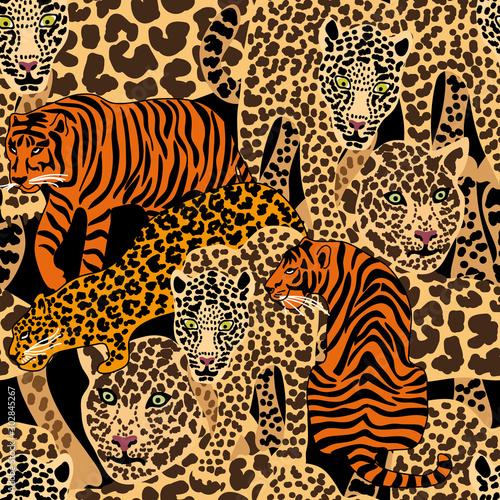 Carta da parati Seamless print with leopards, tigers.