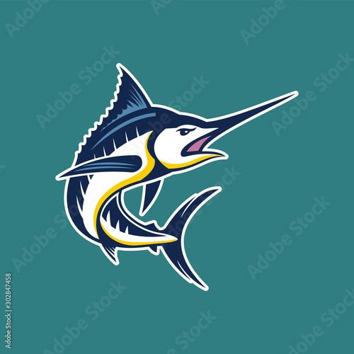 Marlin fish logo Fototapeta