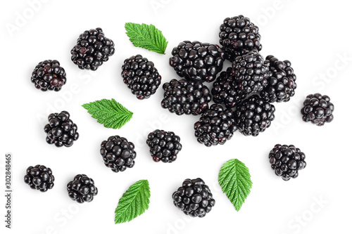 Canvas Print Fresh blackberry with leaves isolated on white background