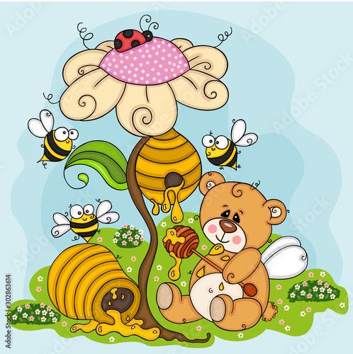 Fototapeta Illustration of greedy teddy bear eating honey