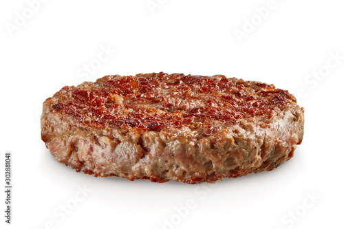 Hamburger patty isolated on white Fototapet