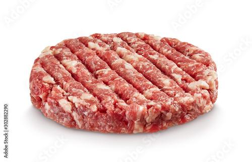 Canvastavla Raw hamburger patty isolated on white