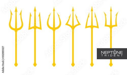 Fotografia Vector yellow trident set Triton, Neptune, Poseidon