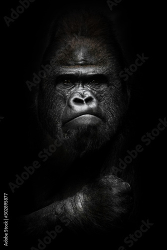 Obraz na płótnie face and powerful hand in the dark