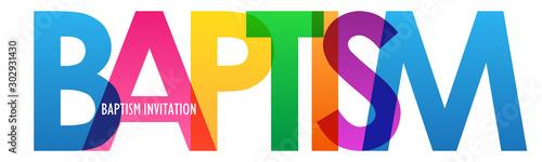 Fotografija BAPTISM INVITATION colorful vector typography banner