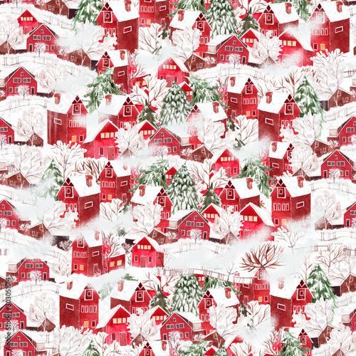 Obraz na płótnie z pięknym czerwonym wzorem domków pokrytych śniegiem
