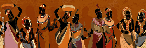 African women silhouettes in national clothes horizontal seamless pattern. Beautiful black females. People of South Africa, vector illustration
