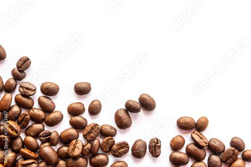 Leinwand Poster coffee beans on white background