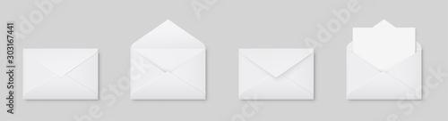 Fotografie, Obraz Realistic blank white letter paper C5 or C6 envelope front view