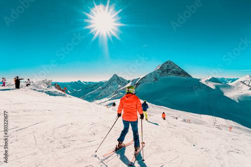 Canvas Print Woman Skier skiing at Hintertux Glacier in Tyrol in Mayrhofen in Austria, winter Alps