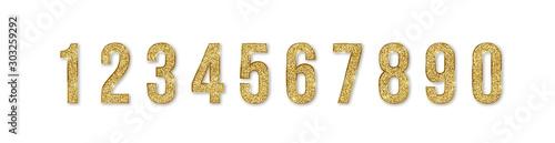 Fotografie, Obraz Set of golden numbers
