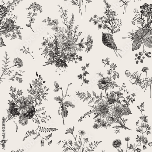 Seamless pattern. Autumn floral pattern. Classic illustration. Black and white