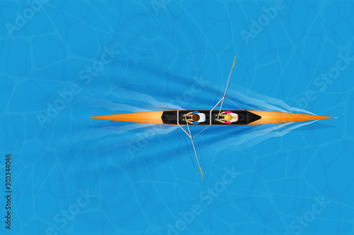 Fotomural Double Racing shell with mixed paddlers for rowing sport on water surface