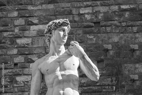 Canvas Print Black and white detail of the statue of David, sculpted by Michelangelo Buonarro
