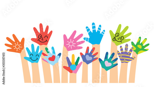 Slika na platnu Painted Hands Of Little Children