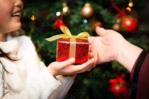 Fotografia, Obraz クリスマスプレゼントを手渡す老人と孫の手