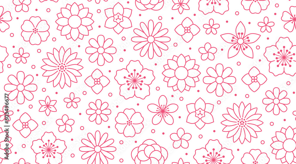 Kwiecisty bezszwowy wzór, kwiatu tło. Zarysuj kwiaty - linia rumianku, jaśminu, stokrotki. Proste białe rośliny w różowym białym kolorze <span>plik: #303496677   autor: nadiinko</span>