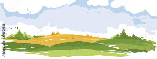 Streszczenie wiejski krajobraz. Akwarela ilustracja, pola pszenicy i łąki