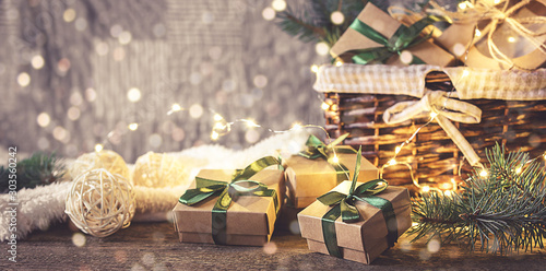 Christmas  zero waste, environmentally friendly gift wrapping  craft paper fir b Fototapeta