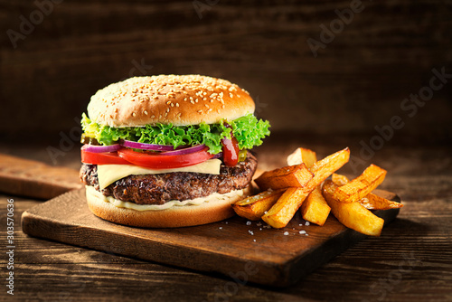 Fotografie, Tablou Hamburger with french fries