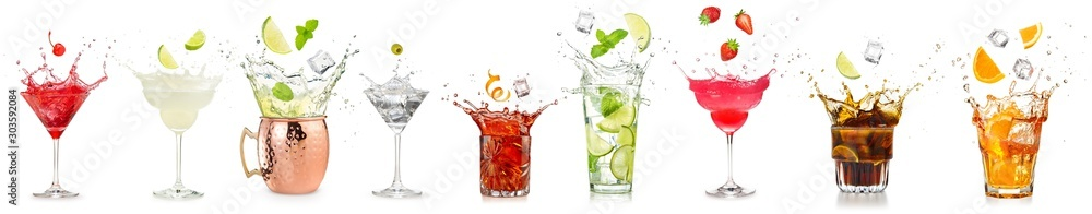 splashing cocktails collection isolated on white background.