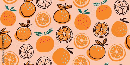Stylish citrus oranges fruits seamless pattern Fototapete