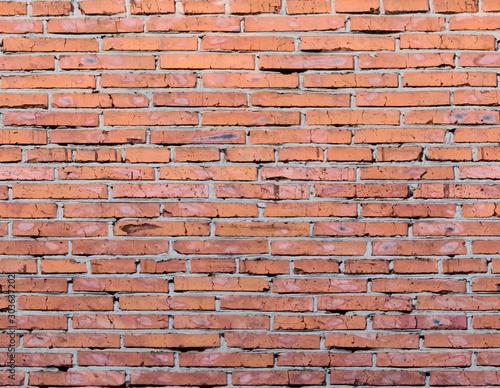 Texture of old long brick, seamless patern of clinker brick, multicolored old Fototapeta